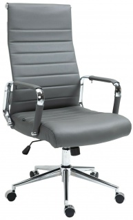 Bürostuhl 136 kg belastbar grau / chrom Echtleder Chefsessel Drehstuhl stabil