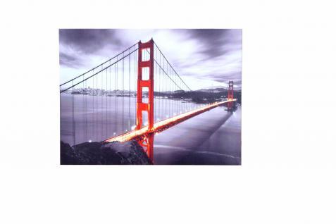 LED-Wandbild Golden Gate Bride 1 Lämpchen Leinwand massivholz-Gestell Wanddeko
