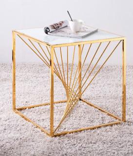 Beistelltisch goldfarben weiße Glasplatte Couchtisch Glastisch modern design