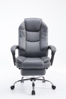 Bürostuhl grau Kunstleder Chefsessel klassisch Fußablage hochwertig modern neu