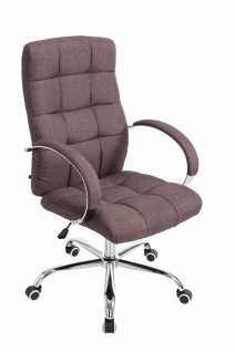 Bürostuhl bis 120 kg belastbar Stoffbezug braun Chefsessel hochwertig klassisch