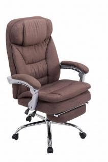 Bürostuhl Stoff braun mit Fußablage Chefsessel 160 kg belastbar Drehstuhl stabil