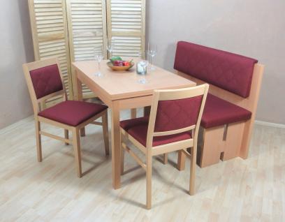 Essgruppe 4 teilig Buche rot Bank Tischgruppe Stühle Esstisch günstig preiswert