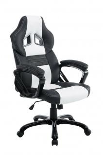 XL Bürostuhl 150 kg belastbar schwarz weiß Kunstleder Chefsessel hochwertig