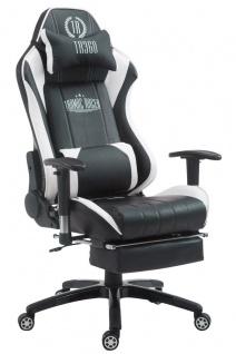 XL Bürostuhl 150kg belastbar schwarz weiß Chefsessel Fußablage Zocker Gamer