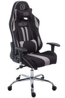Chefsessel 150kg belastbar schwarz grau Stoffbezug Bürostuhl Zocker Gamer Gaming