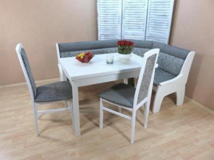 moderne Truheneckbankgruppe weiß graphit Esstisch ausziehbar 2x Stühle massiv