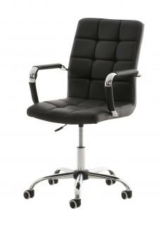 Bürostuhl 120kg belastbar Kunstleder schwarz Drehstuhl Arbeitshocker stabil NEU
