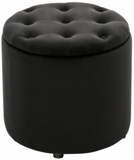 Sitzhocker Samt schwarz Polsterhocker mit Stauraum Fußhocker rund modern design