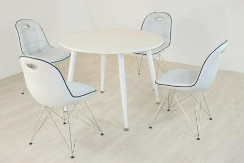 Tischgruppe weiß Essgruppe Esszimmergruppe Schalenstuhl Tisch modern design A2