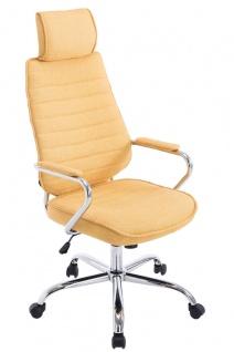 Bürostuhl 120kg belastbar Stoffbezug gelb Chefsessel Kopfstütze modern design