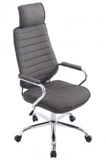 Chefsessel dunkelgrau Stoffbezug Bürostuhl hochwertig Drehsessel modern design