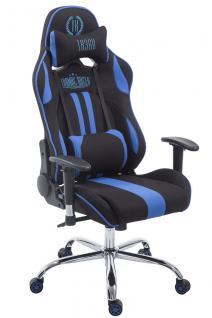 Chefsessel 150kg belastbar schwarz blau Stoffbezug Bürostuhl Zocker Gamer Gaming