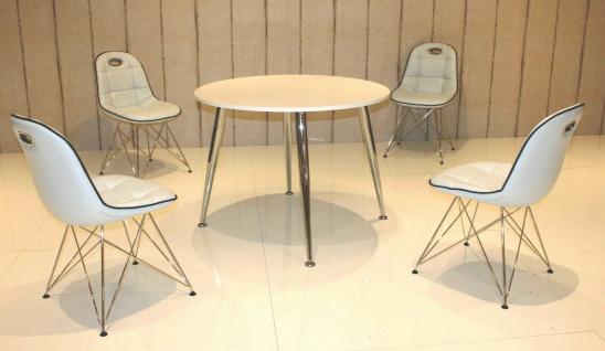 Tischgruppe weiß Essgruppe Esszimmergruppe Schalenstuhl Tisch modern design A1