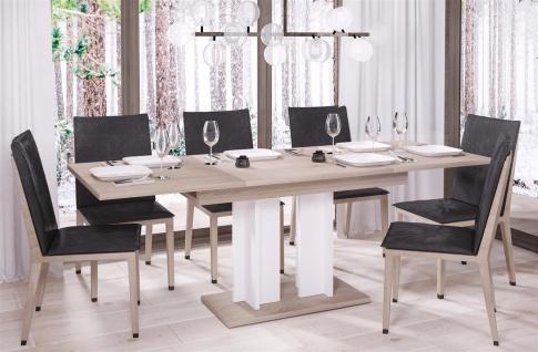 design Säulentisch Sonoma weiß Esstisch zweifarbig ausziehbar Auszug modern neu