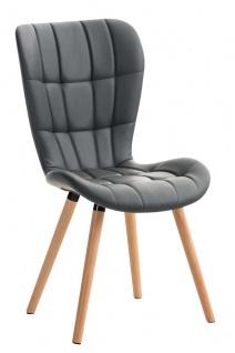 Esszimmerstuhl grau Holzbeine Lehnstuhl Küchenstuhl Kunstleder modern design