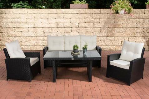 Polyrattan Gartengarnitur schwarz / weiß Sitzgruppe Essgruppe Rattansessel Tisch