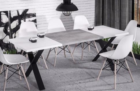 hochwertiger Esstisch 130-170 ausziehbar Hochglanz weiß Beton Esszimmer modern