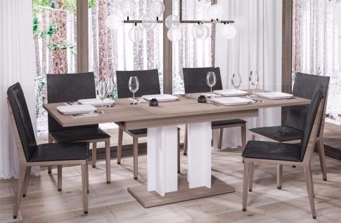 design Säulentisch Wildeiche weiß Esstisch zweifarbig ausziehbar Auszug modern