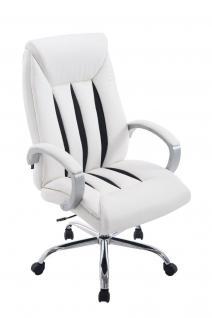 XXL Bürostuhl bis 150 kg belastbar weiß feinstes Kunstleder edler Chefsessel