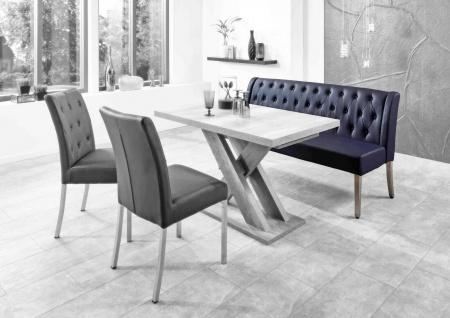 moderne Esszimmerbank Kunstleder dunkelblau Sitzbank Einzelbank Bank design NEU