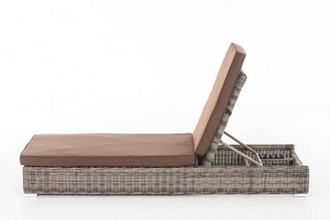 Polyrattan Sonnenliege grau inkl. Auflage Beistelltisch Gartenliege Balkon neu - Vorschau 2