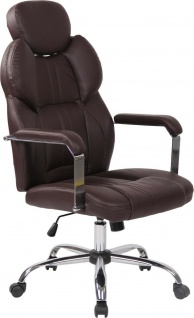 Bürostuhl 150kg belastbar Kunstleder braun Chefsessel Drehstuhl modern stabil
