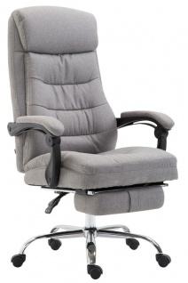 XL Bürostuhl belastbar 136kg Stoffbezug hellgrau Chefsessel Fußstütze modern