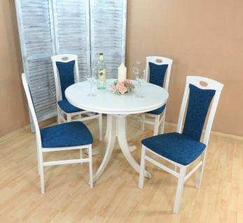 Essgruppe 5 tl.g weiß azurblau Tischgruppe modern design Stuhlset Tisch rund