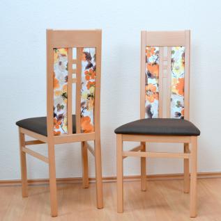 2er-Set moderne Esszimmerstühle massivholz Buche schoko Polsterstuhl Stuhlset