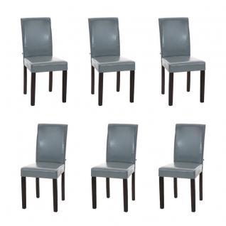 6 x Esszimmerstuhl grau Füße braun Stuhlset modern günstig Küchenstühle design