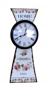Wanduhr Home Uhr Metall romantisch Rosen Motiv antik schwarz weiß römisch neu