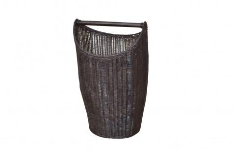 trendiger Wäschekorb braun Rattanrohr handgeflochten Wäschetruhe Wäschebox Griff