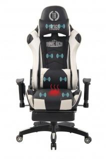Bürostuhl weiß Chefsessel Wärme- und Massagefunktion Gaming Gamer Zockersessel