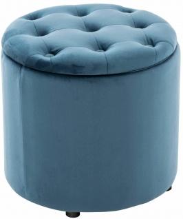 Sitzhocker Samt blau Polsterhocker mit Stauraum Fußhocker rund modern design