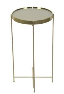 Beistelltisch Champagne-Gold rund 60cm hoch Glastisch Teetisch Sofatisch modern