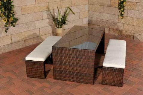 Polyrattan Gartenbar braun Sitzgruppe Essgruppe Gartengarnitur Sitzbänke Tisch