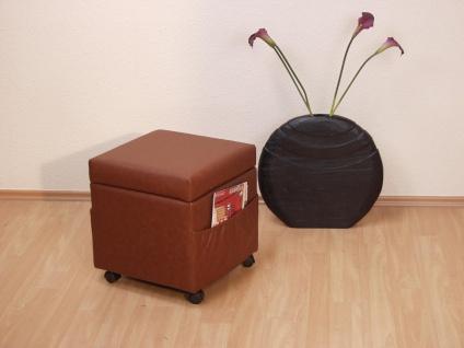 Sitzwürfel braun Bank Sitz Sitzhocker Hocker Würfel stabil Rollen Stoff Taschen