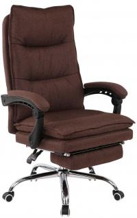 XL Bürostuhl 136 kg belastbar braun Stoff Chefsessel Drehstuhl Computerstuhl