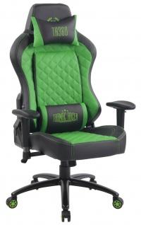 XL Bürostuhl 150 kg belastbar schwarz grün Kunstleder Chefsessel Gamer Zocker