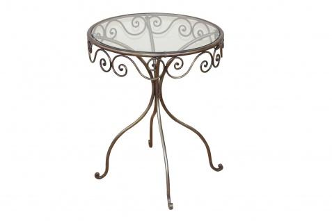Glastisch Goldbraun rund Tisch Beistelltisch antik romantisch Metalltisch neu