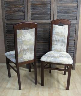 2er-Set Esszimmerstühle massivholz nuss dunkel creme silber Stuhlset modern neu