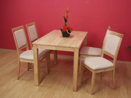 2 x Stuhl Stühle Stuhlset Esszimmerstühle Set Landhaus Stoff natur Holz