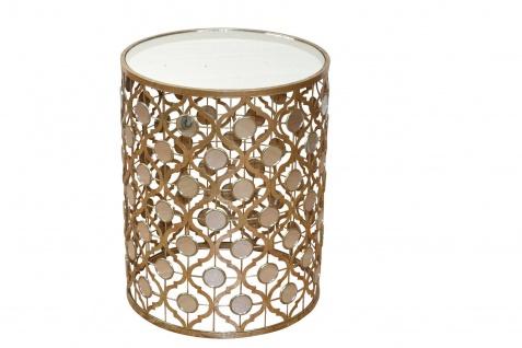 Glastisch Goldfarben Tisch Beistelltisch Couchtisch Glasplatte antik Spiegel - Vorschau 1