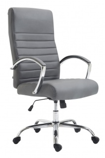 XL Bürostuhl bis 136 kg belastbar Kunstleder grau Chefsessel hochwertig design - Vorschau 1