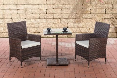 Polyrattan Sitzgruppe braun Essgruppe Stühle Esstisch Balkon Terrasse Lounge