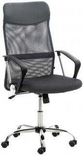 klassischer Bürostuhl grau Netzbezug 140kg belastbar Chefsessel Drehstuhl stabil