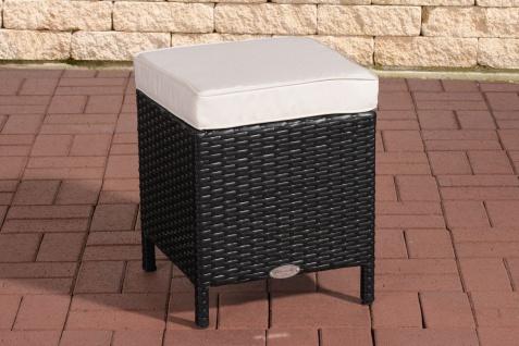 Polyrattan Garten Hocker schwarz inkl. Kissen Auflage Lounge Balkon Terrasse