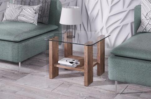 design Glastisch nussbaum kleiner Beistelltisch edler Couchtisch modern günstig