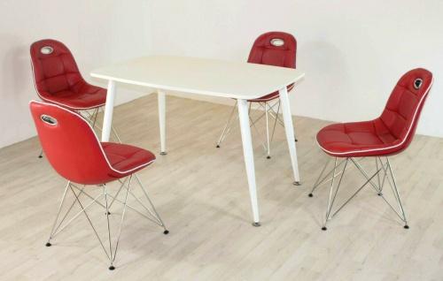 Tischgruppe rot/weiß Essgruppe Esszimmergruppe Schalenstuhl modern design C5